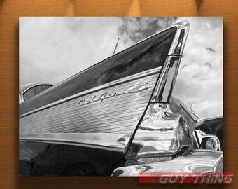 Chevrolet Bel Air, Car Picture, Tail Fins, Bel Air 5, Chevy BelAir, Black and White, Tail Fins, Automobile Art, 1950s Cars, 50s Cars