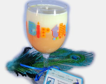 Birthday Cake & Buttercream Frosting Scented Soy Candle in Happy Birthday Wine Glass