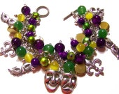 Mardi Gras Charm Bracelet Glass Beaded Purple Green Yellow
