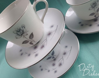 Stardust Collection Mismatched Coffee Cup and Saucer - Set of Four