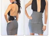 SILVER MOONLIGHT- MTBG & Co Pencil Dress With Halter Top / Bathing Suit Dress Stripe