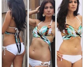 TROPICAL BEAUTY- Criss Cross Bikini/ Multi Colored Bikini/ Classy Bikini
