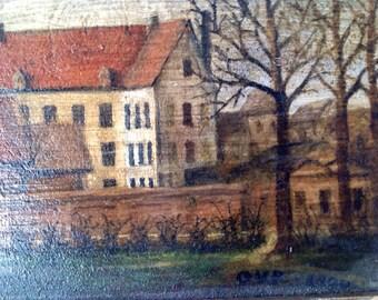 1800's Brussels landscape painting, original signed art, Flemish school, panoramic