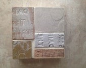 Modern Minimalist Industrial Ceramic Mosaic Collage Sculpture in Neutrals