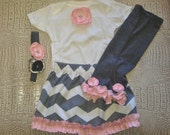 Baby Girl Shower Gift, Pink and Gray Chevron Outfit, Onesie, Skirt, Leg Warmer and Headband Set