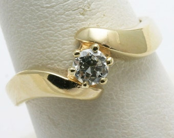 Vintage 14k yellow gold Diamond Solitaire Engagement Ring 0.35 ct miners Swirl Estate