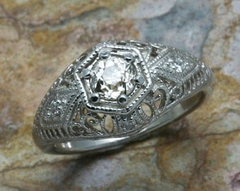 Vintage 14k white gold Miners Cut Diamond Filigree Engagement ring 0.63 carat Estate