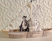 Paper Boat Altered Antique Book Page Victorian Images Origami Folded Paper Boat