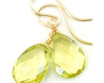 AAA Lemon Yellow Quartz Earrings Pear Teardrop Faceted  Drop Sterling Silver or 14k Gold Filled