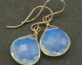 Opalite Earrings Faceted Heart Briolette Shaped AAA Teardrops 14k Gold Filled or Sterling Silver