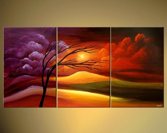 """Colorful Landscape Giclee PRINT, Embellished and Ready to Hang, Painting by Osnat - 60""""x30"""""""