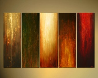 "Original Contemporary Abstract Painting Earth Tone Modern Abstract Art by Osnat - MADE-TO-ORDER - 60""x36"""