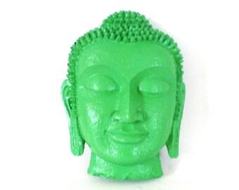 buddha head wall hanging, buddha mask, pop art, buddha wall art, mint green