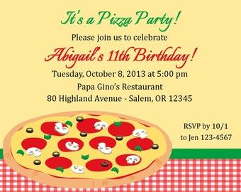 Pizza Party Invitation - Digital File / Pizza Birthday Party Invitation / Pizza Birthday / Kids Pizza Party Invitation