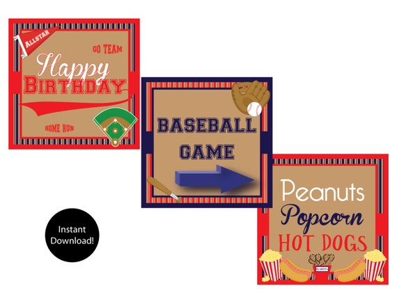 Items similar to printable vintage baseball signs instant for Vintage sites like etsy