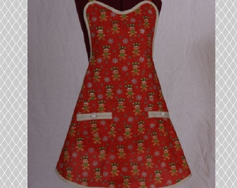 Cute Retro Inspired Handmade Full Womens Apron/ Holiday Themed Red and Green, Two Pockets