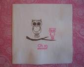 50 Baby Owl PAPER NAPKINS Pink Owl Baby Shower Baby Girl Shower Baby Shower Decorations Owl Baby Shower Owl Birthday Party
