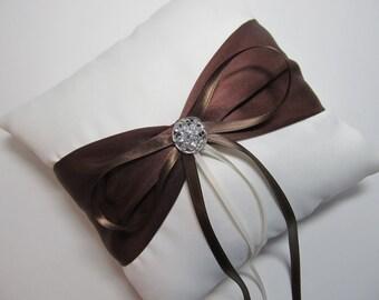 Ivory Satin Ring Bearer Pillow With Brown Sash