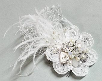 Soft White Bridal Hair Comb- Pearl Hair Comb-Wedding Hair Piece- Bridal Hair Accessories- White Clip or Comb- Bird Cage Veil-Floral Haircomb