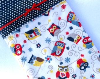 Baby Blankets - Minky Baby Blanket - Owl Baby Blanket - Red Yellow Blue - Baby Blanket - Baby Blanket Boy - Baby Gift Boy - Kids Bedding