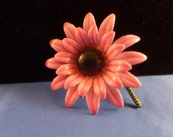Hot Pink Gerber Daisy Flower Brooch
