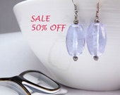 SALE 50% OFF - glass earrings transparent light blue