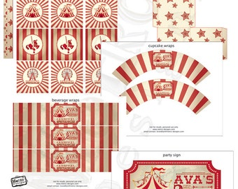 Rustic, Carnival Birthday Party Decorations | Digital Files