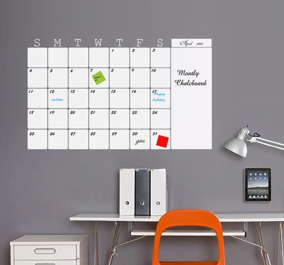 Monthly White Board Wall Calendar Vinyl Decal Organize