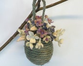 Easter Ornament Sage Green Jute Egg