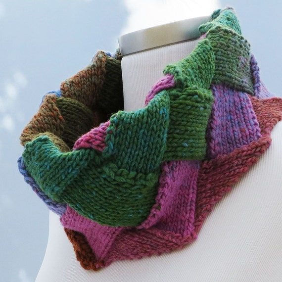 Multi Colored Scarf Knitting Pattern : Hand knit multi-colored knit scarf