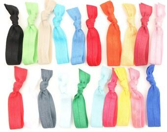 50 Ribbon Hair Tie Bracelets - Yoga Hair Elastics - Emi Jay Like Cloth Hair Bands, Hair Scrunchies - Gift For Her - Women's Hair Accessories