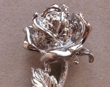 romantic silver tone metal rose component finding for creating assemblages, collages, and scrap booking