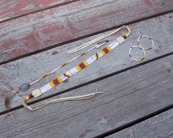 Native American inspired design - Beaded Choker, Hairpiece, Earrings set - Sioux Sunset
