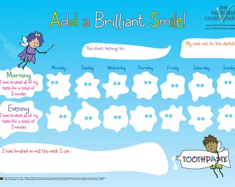 Add a Brilliant Smile - Tooth Brushing Reward Chart for children: reward chart to encourage your child to brush their teeth & dental hygiene