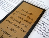 Bookmark for Men Micah 6:8 Black and Kraft Laminated Book Mark with Bible Verse - EllieMarieDesigns
