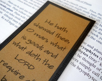 Bookmark for Men Micah 6:8 Black and Kraft Laminated Book Mark with Bible Verse Christmas Gift, Stocking Stuffer