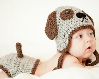 Crochet Puppy Dog 2 pc. Photo Prop