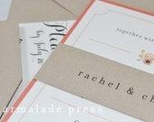 SAMPLE (Domestic) Southern Shabby Chic Wedding Inviations - Charm, Classic, Peach, Cream, Ivory, Kraft