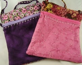 1 Zippered Cotton Fabric Shoulder Bag - Purple bag RESERVED for Kathy S - Purse - eBook Bag