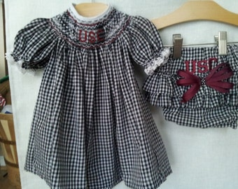 Hand Smocked USC Gamecock Baby Bishop Dress and Diaper Cover