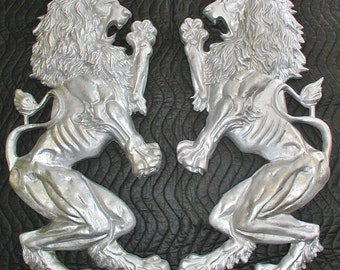 Pair O' Rampant Britannic Fighting Lions,Plaque,Shield, Crest,Cast Aluminum
