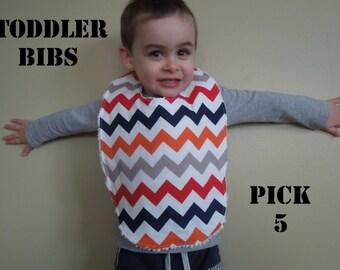 5 TODDLER BIBS - Choose your own fabrics