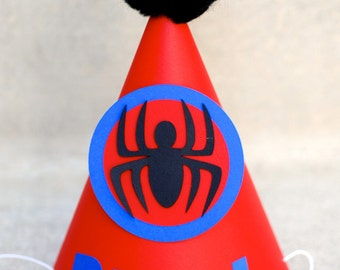 Spiderman Inspired Birthday Party Hat  - Personalized for birthday child