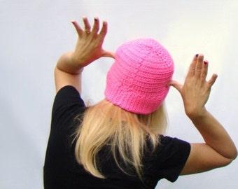 Pink Crochet Tam Hat,  Womens Cloche Hat,  Hot Pink Crochet Cloche, Hot Pink Hat, Neon Pink Tam