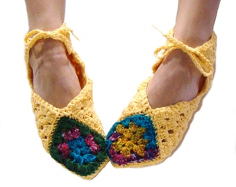 Yellow Slippers, Granny Square Slippers, Crochet Slipper, Women Slipper, Ballet Slipper, Gladiator Sandal, Granny Slipper