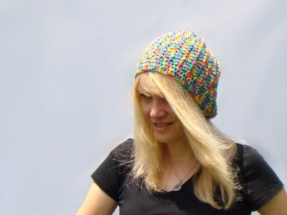 Multicolor Slouch Hat, Crochet Beanie, Rainbow Slouch Hat, Rainbow Beanie, Crochet Hat