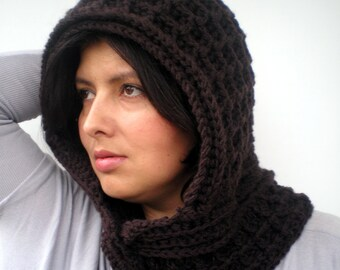 Dark Brown  Waffle  hooded Cowl Crocheted mixed Wool Hood Woman Chunky Hood  NEW