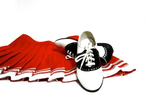 Vintage Cheerleader Skirt and Saddle Oxfords Halloween Prop