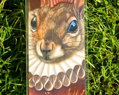 Bookmark: Mohawk Squirrel Shakespeare Ruffled English Pink Mohawk Pop Surrealism Animal Art