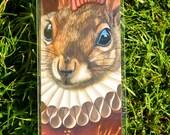 Bookmark: Mohawk Squirrel Shakespeare Ruffled English Pink Mohawk Pop Surrealism Animal Art